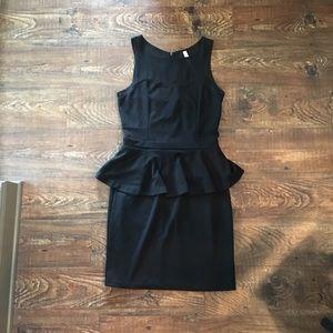 Black Peplum Dress with Sweetheart Neckline